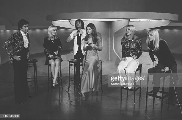 Tv 'Top' Sacha Distel in ParisFrance on December 8th1973 Dany SavalEric ChardenSheilaStone and France Gall