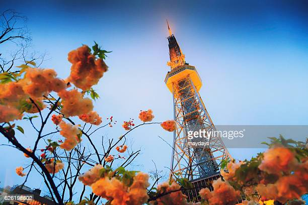 tv tower, nagoya - nagoya stock pictures, royalty-free photos & images