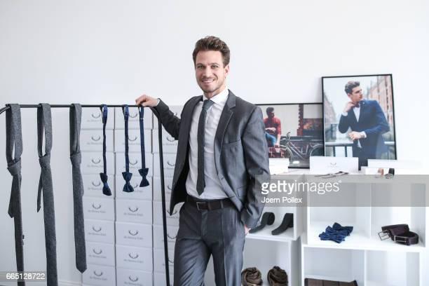 Bachelor Sebastian Pannek poses during a Photo Call of the Fashion Label 'die Herren Edel' on April 6 2017 in Hamburg Germany Sebastian Pannek has...