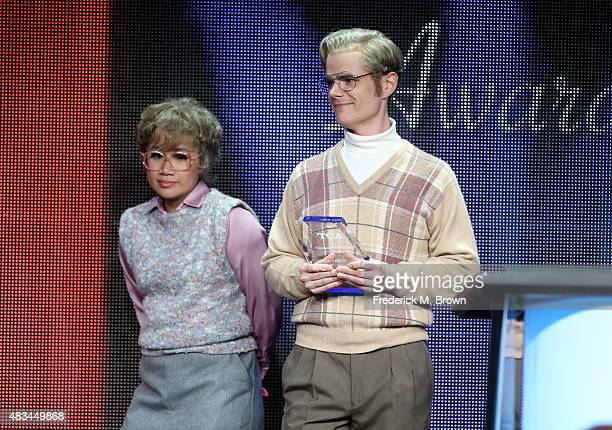 TVGuide.com's Hanh Nguyen and TVLine.com's Michael Ausiello present the TCA Award for Outstanding Achievement in Drama onstage during the 31st annual...