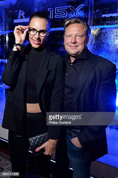 TVhost Esther Sedlaczek and Rodenstock's CEO Oliver Kastalio pose during the Rodenstock Porsche Design 15th year anniversary party at P1 on January...