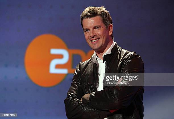 TVhost Markus Lanz poses prior to a press conference with German actor Karlheinz Boehm at Bavaria Film television studios on April 21 2008 in...