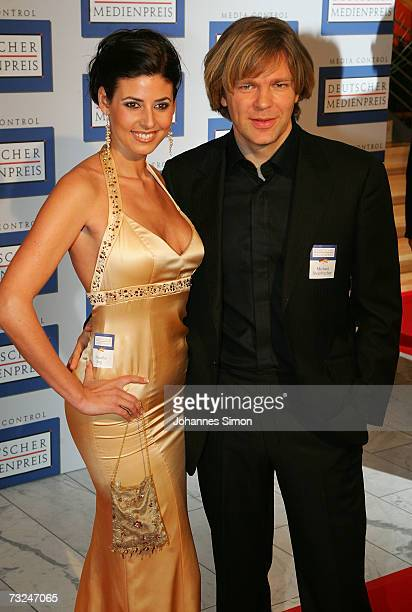 Host Michael Steinbrecher and his girlfriend Natascha Berg arrive at the German Media Awards at the Congress Hall on February 7 2007 in BadenBaden...