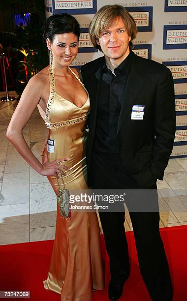 Host Michael Steinbrecher and his Natascha Berg arrive at the German Media Awards at the Congress Hall on February 7 2007 in BadenBaden Germany