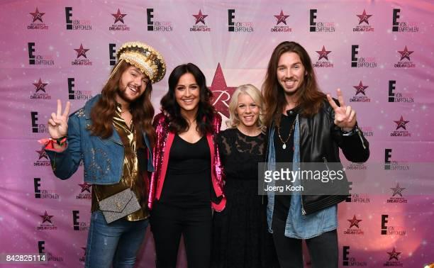 TVhost Riccardo Simonetti host Nina Mogghadam Director Progamming Acquisitions NBC Universal Deutschland Karin Schrader and musician Gil Ofarim pose...