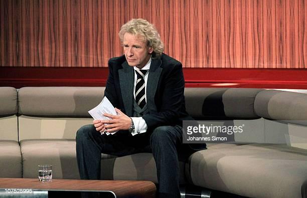 TVhost Thomas Gottschalk looks on during the 'Menschen 2010' TV Show on December 10 2010 in Munich Germany