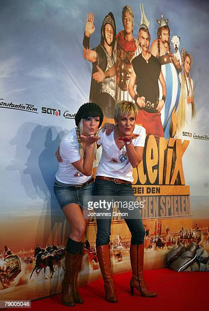 """Hostess Tina Kaiser and actress Alexandra Rietz pose during the movie premiere of """"Asterix at the Olympic Games"""" on January 15, 2008 in Munich,..."""