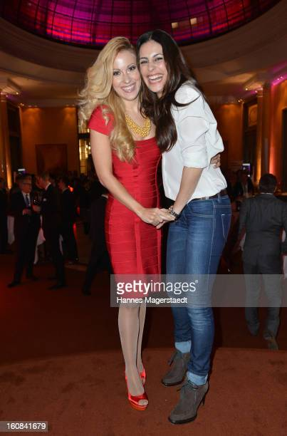 Hosts Andrea Kaiser and Funda Vanroy attend the Best Brands 2013 Gala at Bayerischer Hof on February 6, 2013 in Munich, Germany.