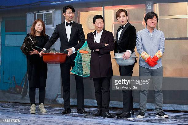 tvN producer Shin HyoJung actors Cha SeungWon Yu HaeJin Jang KeunSuk and tvN producer Na YoungSuk attend the press conference for tvN '3 Meals a Day'...