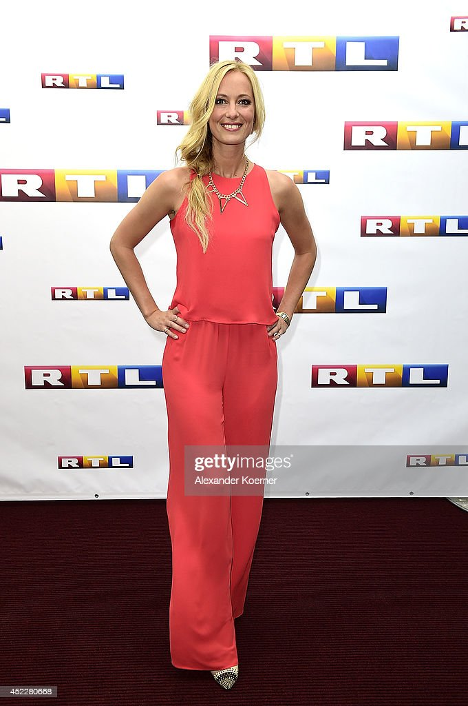 TV-presenter Angela Finger-Erben attends the offical Television programm-preview of german television production RTL on July 17, 2014 in Hamburg, Germany. She will present the show 'Bei Anruf Liebe', which will be shown nationwide later this year.