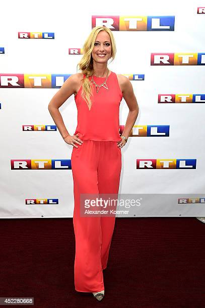 TVpresenter Angela FingerErben attends the offical Television programmpreview of german television production RTL on July 17 2014 in Hamburg Germany...