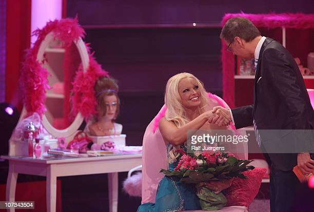 TVpresenter Guenther Jauch talks to pictured Daniela Katzenberger during the RTL '2010 Menschen Bilder Emotionen Show' on December 05 2010 in Cologne...