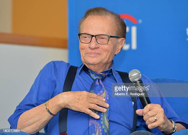 TV/radio host Larry King attends a private luncheon hosted by The National Radio Hall of Fame and Larry King at Dodger Stadium on September 13 2013...