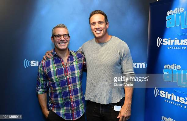 Radio personality Andy Cohen and TV journalist Chris Cuomo pose for photos at Radio Andy at SiriusXM Studios on September 26, 2018 in New York City.
