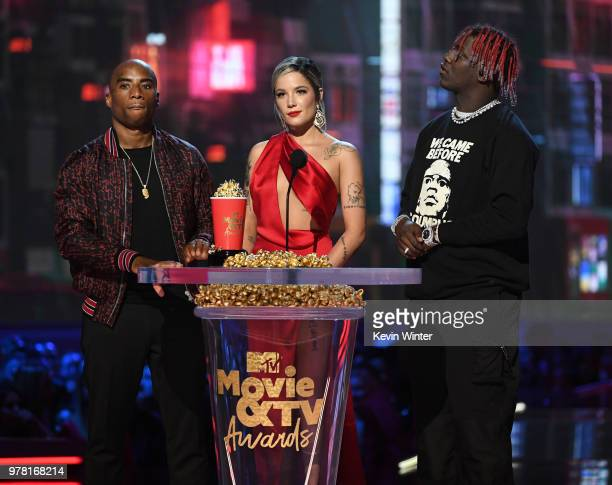 TVradio personality Charlamagne tha God recording artist Halsey and recording artist Lil Yachty speak onstage during the 2018 MTV Movie And TV Awards...