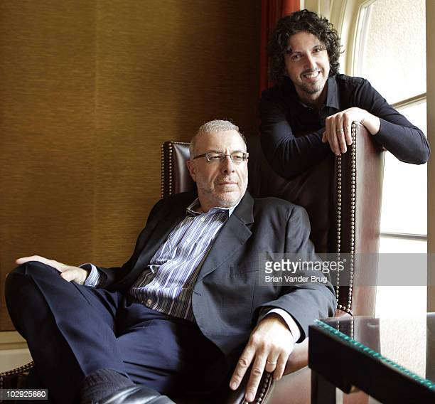 TV's 'One Tree Hill' creator Mark Schwahn right and executive producer Joe Davola left are photographed at The Langham Huntington Hotel and Spa...