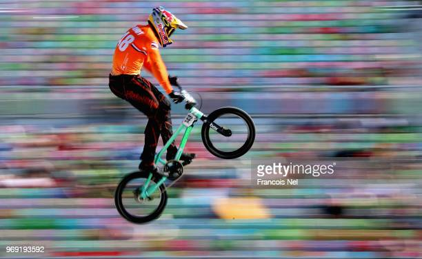 Twan Van Gendt of THe Netherlands in action at the official training session during day three of the UCI BMX World Championships at BMX Velopark on...