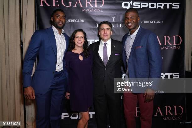 E'Twaun Moore Heidi Sokol Aaron Sokol and guest attend Regard Magazine 2018 NBA AllStar PreParty hosted by Derek Fisher at Soho House on February 15...