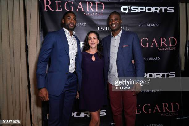 E'Twaun Moore Heidi Sokol and guest attend Regard Magazine 2018 NBA AllStar PreParty hosted by Derek Fisher at Soho House on February 15 2018 in West...