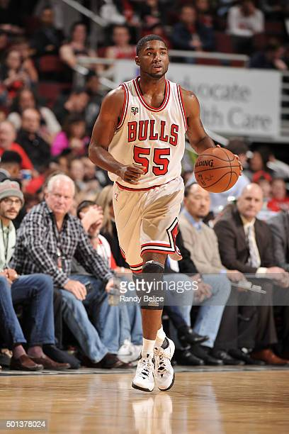 Twaun Moore of the Chicago Bulls handles the ball during the game against the Philadelphia 76ers on December 14 2015 at the United Center in Chicago...