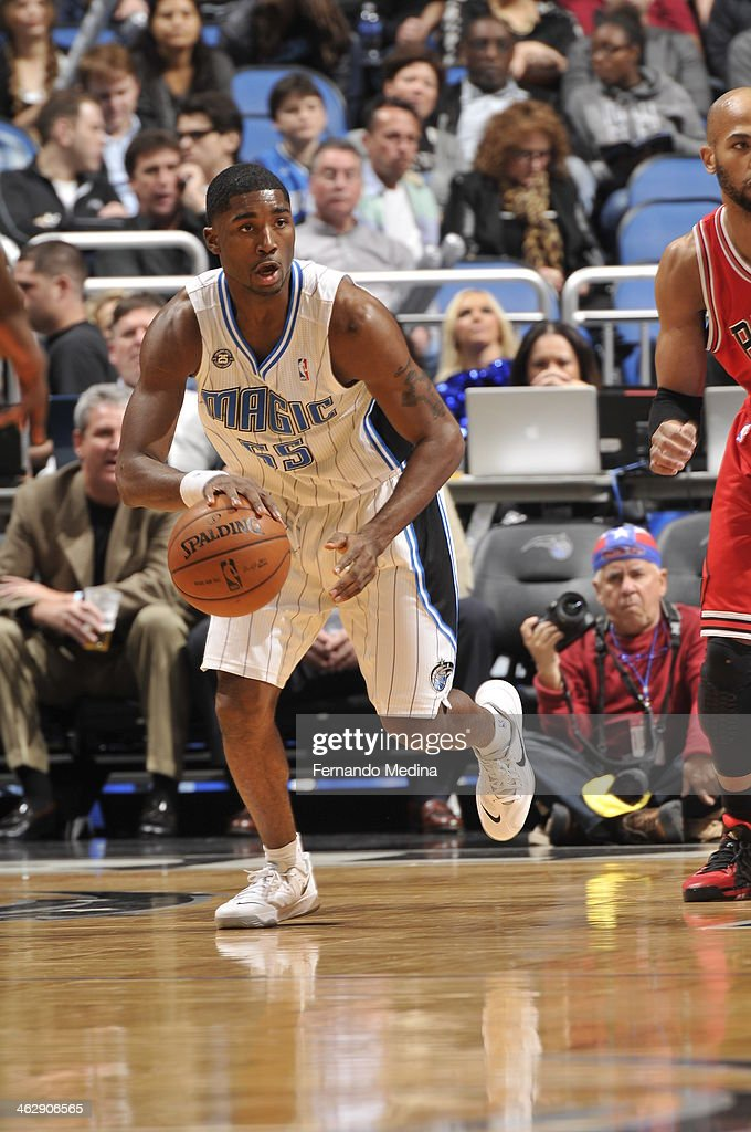 E'Twaun Moore #55 of the Orlando Magic dribbles up the court against the Chicago Bulls Bulls during the game on January 15, 2014 at Amway Center in Orlando, Florida.