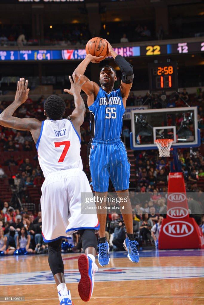 E'Twaun Moore #55 of the Orlando Magic takes a shot against the Philadelphia 76ers at the Wells Fargo Center on February 4, 2013 in Philadelphia, Pennsylvania.