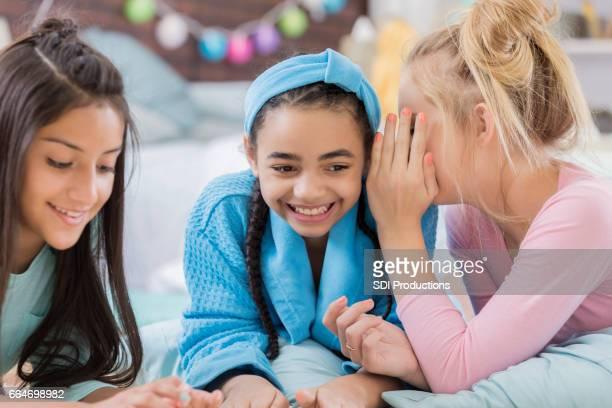 Tween girls tell secrets during sleepover