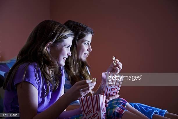 Tween girls watching TV
