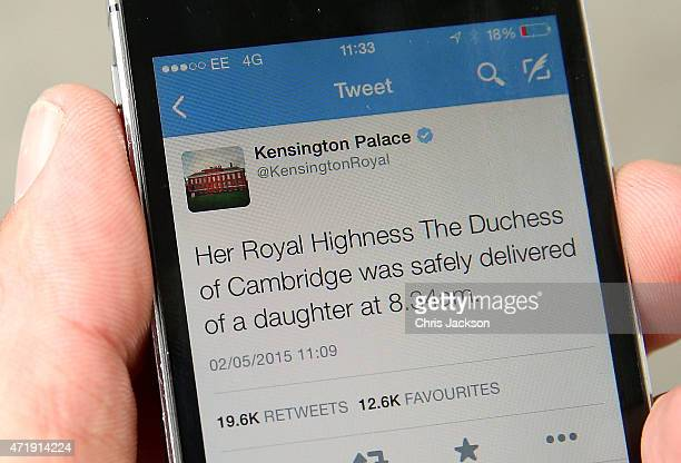 A tweet released by Kensington Palace on twitter announces that Catherine Duchess Of Cambridge has given birth to a baby girl outside the Lindo Wing...