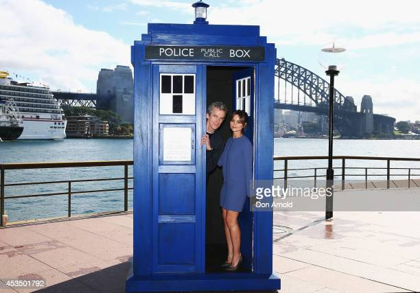 Twelfth Doctor, Peter Capaldi, poses alongside his on-screen companion Jenna Coleman on a world tour to promote the new series of Doctor Who at Dendy...