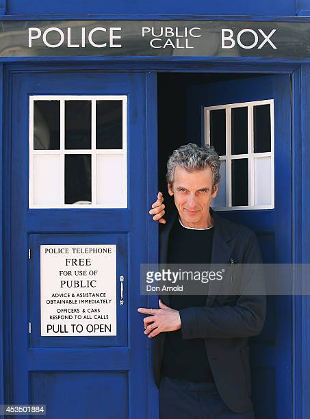 Twelfth Doctor Peter Capaldi poses during a world tour to promote the new series of Doctor Who at Dendy Opera Quays on August 12 2014 in Sydney...