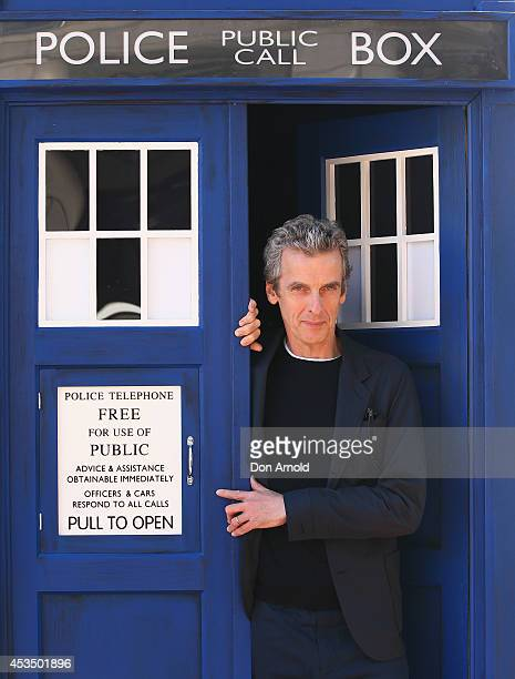 Twelfth Doctor, Peter Capaldi, poses during a world tour to promote the new series of Doctor Who at Dendy Opera Quays on August 12, 2014 in Sydney,...