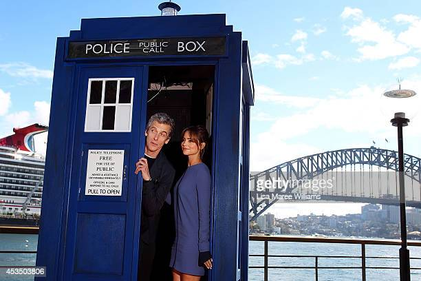 Twelfth Doctor Peter Capaldi poses with his onscreen companion Jenna Coleman during a world tour to promote the new series of Doctor Who at Dendy...