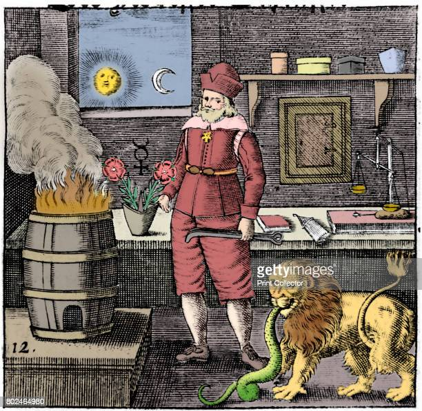 Twelfth Key of Basil Valentine illustrating that the Philosophers' Stone must be combined with gold to produce new gold just as a lion eats a serpent...