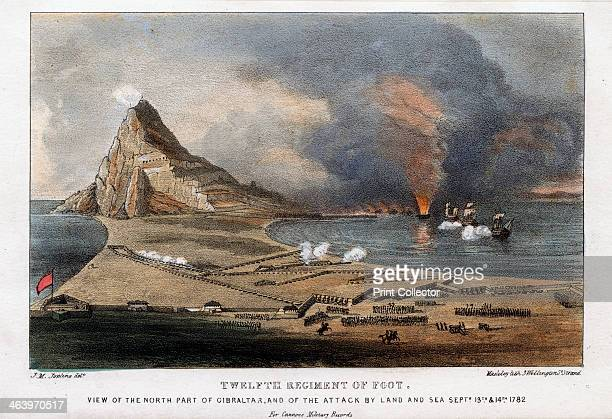 Twelfth Regiment of Foot the north part of Gibraltar 13th and 14th September 1782 Scene during the Great Siege of Gibraltar by the French and Spanish...