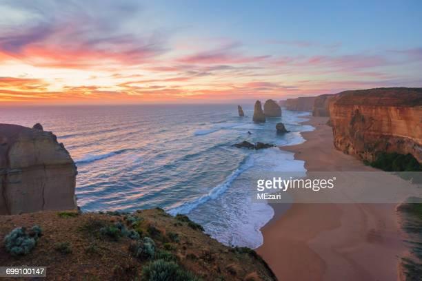 Twelve Apostles at sunset, Great Ocean Road, Victoria, Australia
