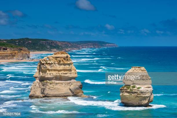twelve apostles, great ocean road, victoria, south australia - eroded stock pictures, royalty-free photos & images