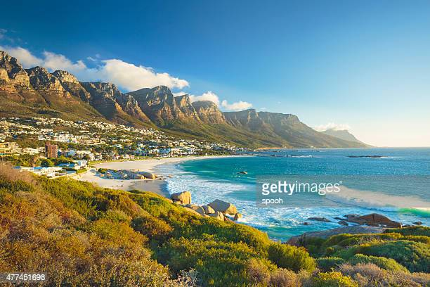 twelve apostles mountain in camps bay, cape town, south africa - coastline stock photos and pictures