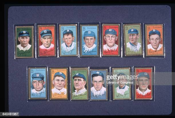 Twelve baseball cards depicting members of the Brooklyn National League team of 1910 sometimes known as the Brooklyn Dodgers