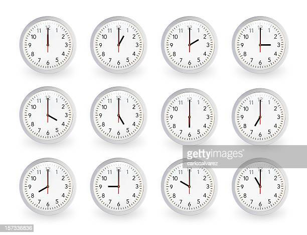 twelve clocks, 12 hours. - number 8 stock pictures, royalty-free photos & images