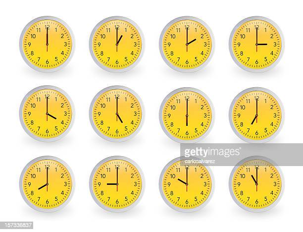 twelve clocks, 12 hours. - wall clock stock photos and pictures