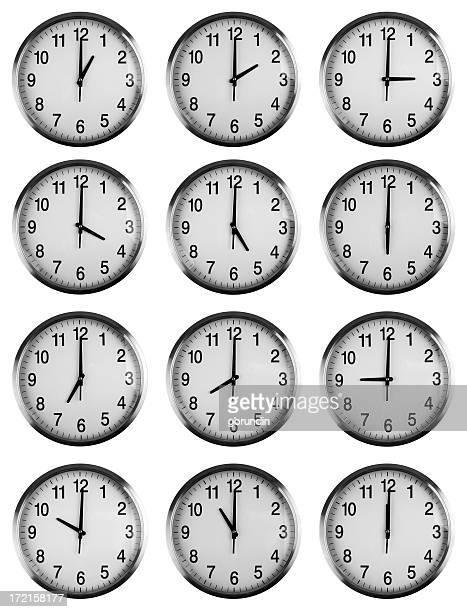 Twelve clocks showing each hour