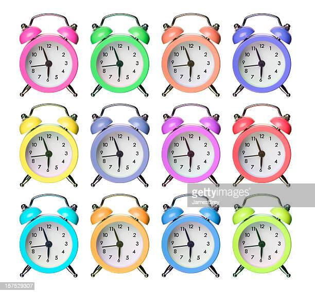 twelve colorful alarm clocks - painting art product stock pictures, royalty-free photos & images