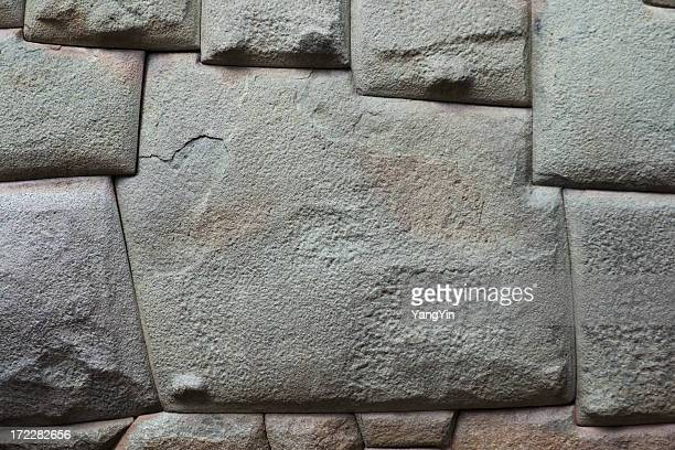 twelve corners wall stone, angles carved by inca, cuzco, peru - stone wall stock pictures, royalty-free photos & images