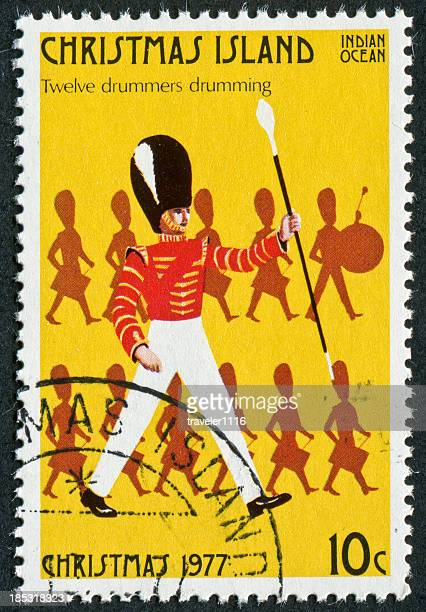 twelve drummers drumming stamp - 12 days of christmas stock pictures, royalty-free photos & images