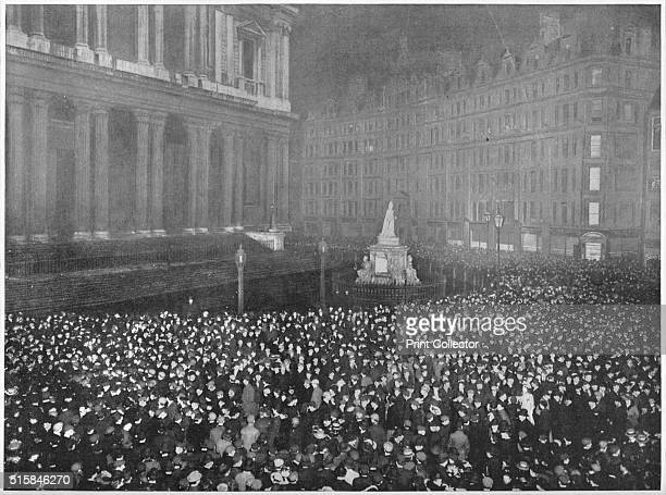 Twelve O'Clock on New Year's Eve Outside St Paul's Cathedral' circa 1902 From Living London Vol III by George R Sims [Cassell and Company Limited...