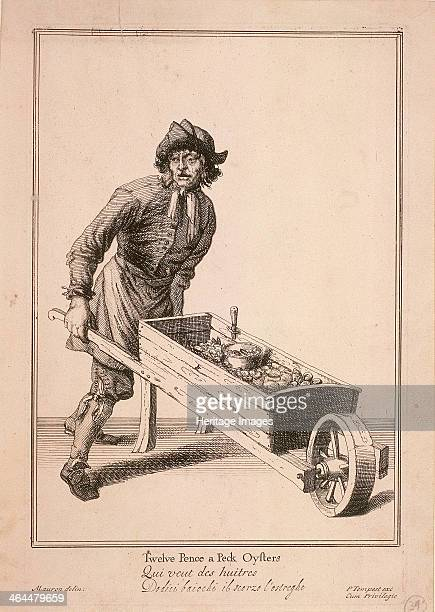 'Twelve Pence a Peck Oysters' An oyster seller pushing a barrow filled with his wares and a knife for opening them From Cries of London