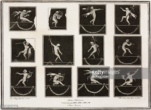 Twelve tightrope walkers in the form of fauns playing and dancing on ropes some of them hold a thyrsus others are playing different instruments such...
