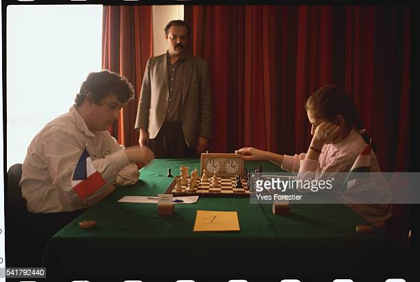 Twelve year old Hungarian chess prodigy Judith Polgar during a France-Hungary game.