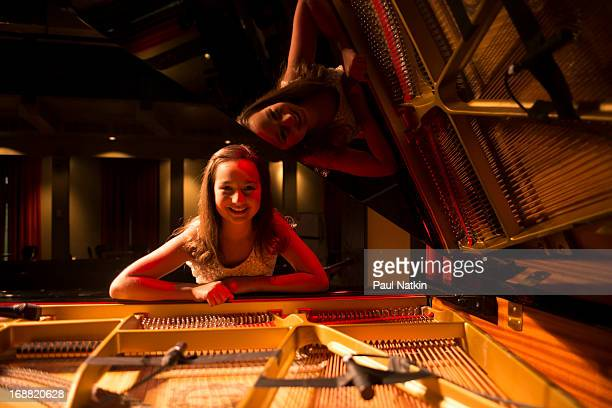 Twelve year old pianist Emily Bear poses at the Old Town School of Folk Music on May 10 2013 in Chicago Illinois